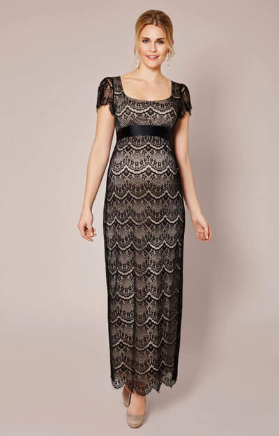 Flutter Maternity Dress Long (Black) by Tiffany Rose