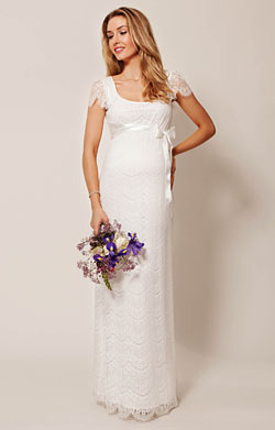 Flutter Maternity Dress Long (Ivory)