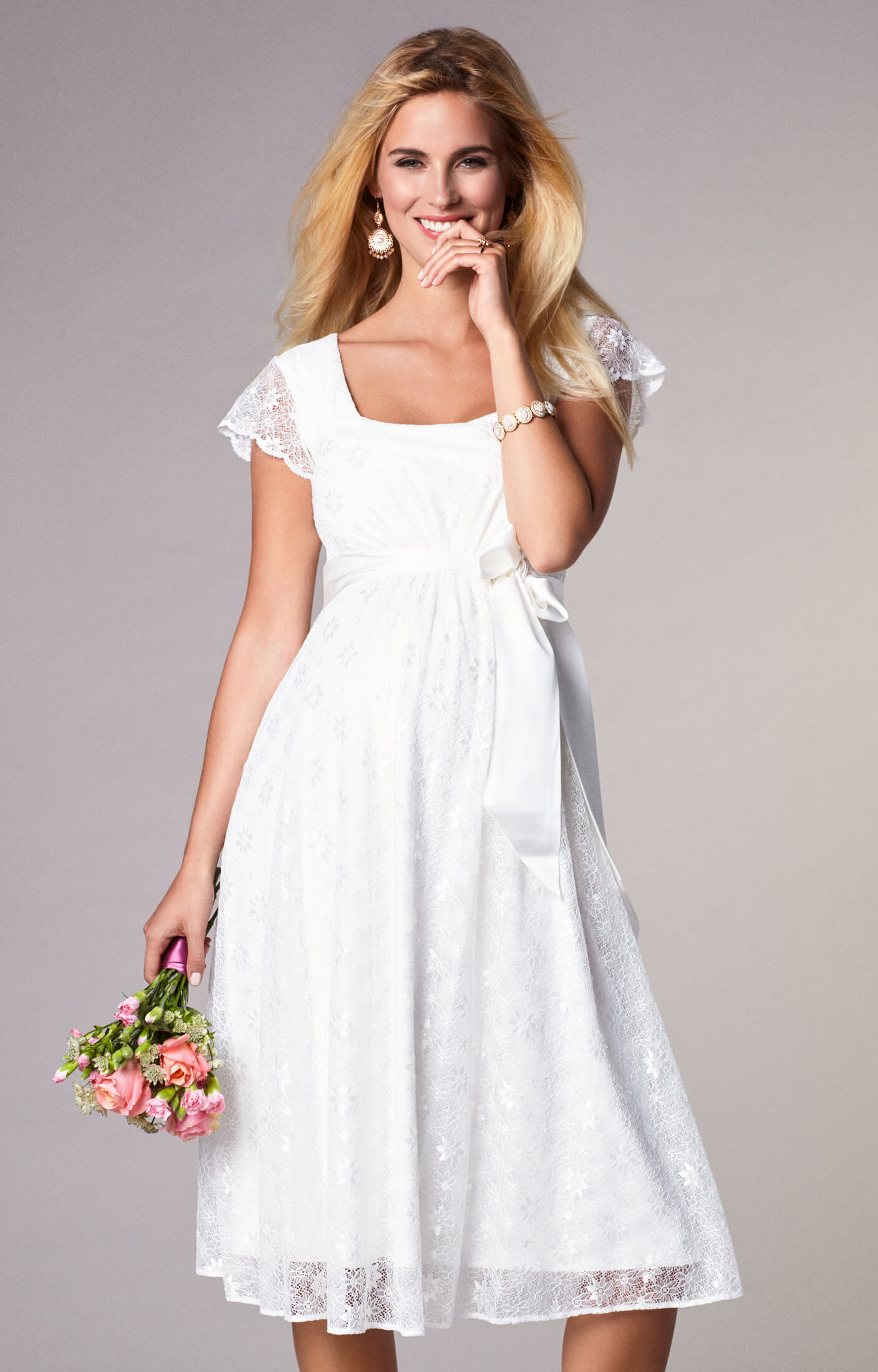 Florence maternity wedding dress short ivory maternity for Wedding guest pregnancy dresses