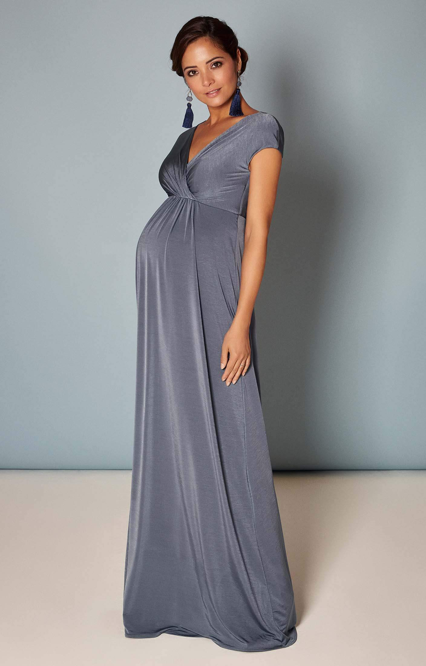 28523745cef Francesca Maternity Maxi Dress in Steel Blue - Maternity Wedding ...