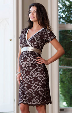 Grace Lace Maternity Dress (Chocolate)
