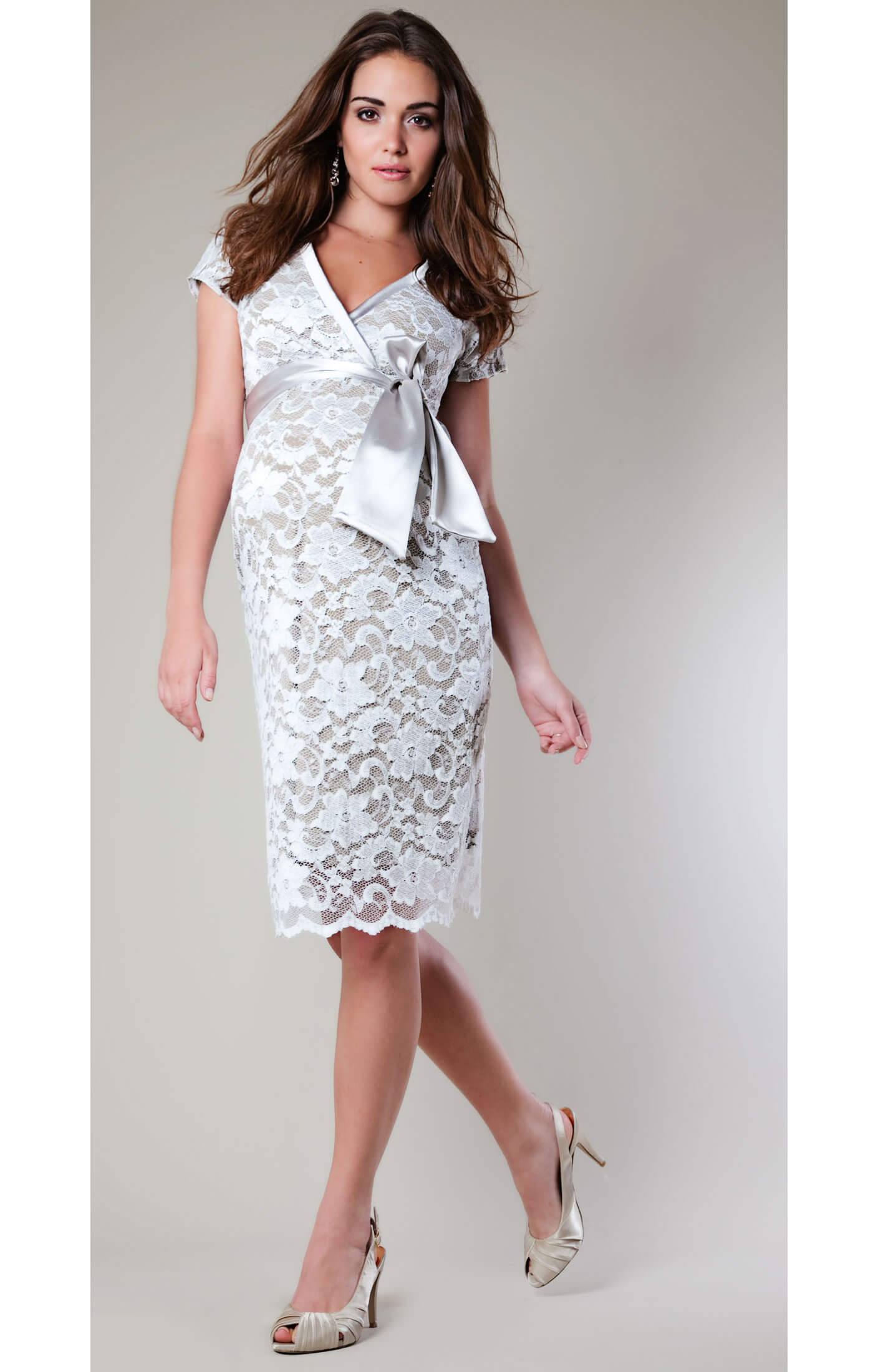 Grace lace maternity dress ivory by tiffany rose