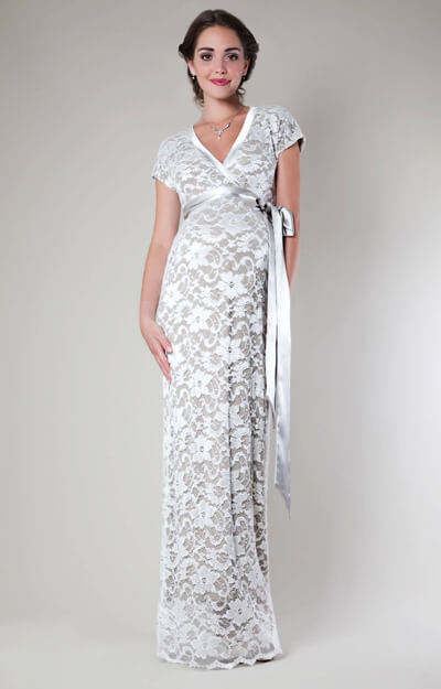 Grace Lace Maternity Dress Long (Ivory) by Tiffany Rose