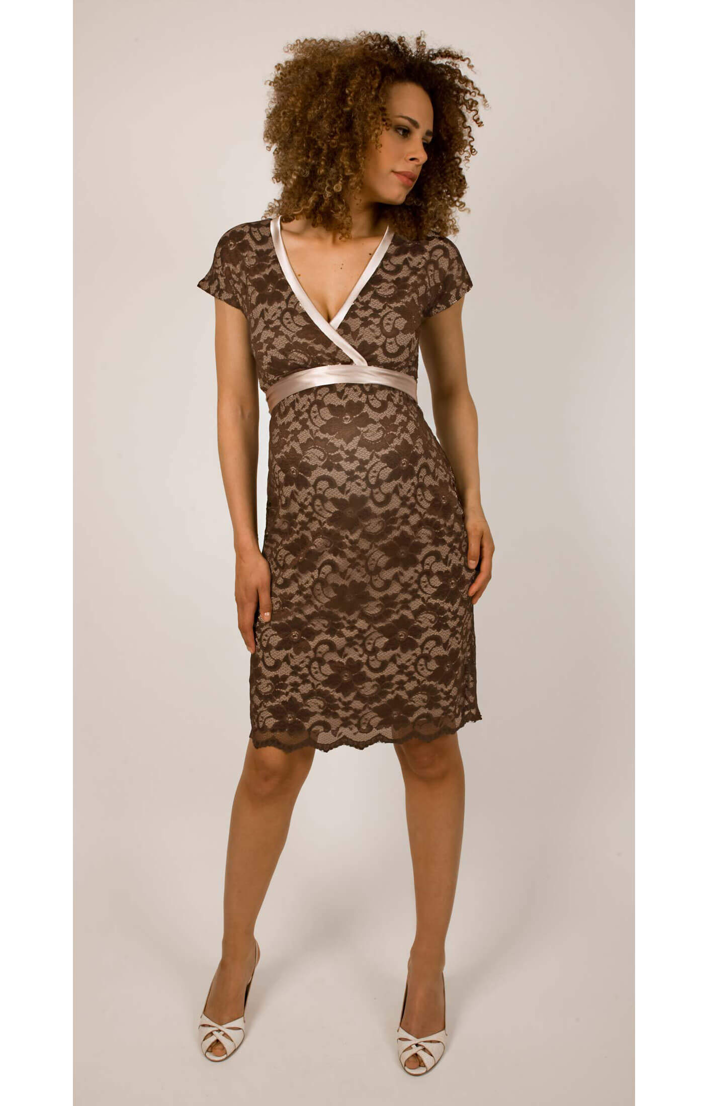 Grace maternity dress mocha by tiffany rose