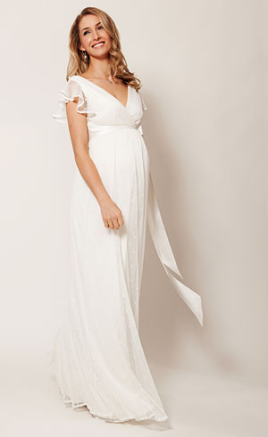 Hannah maternity wedding gown long ivory maternity for Best wedding dresses for pregnant brides