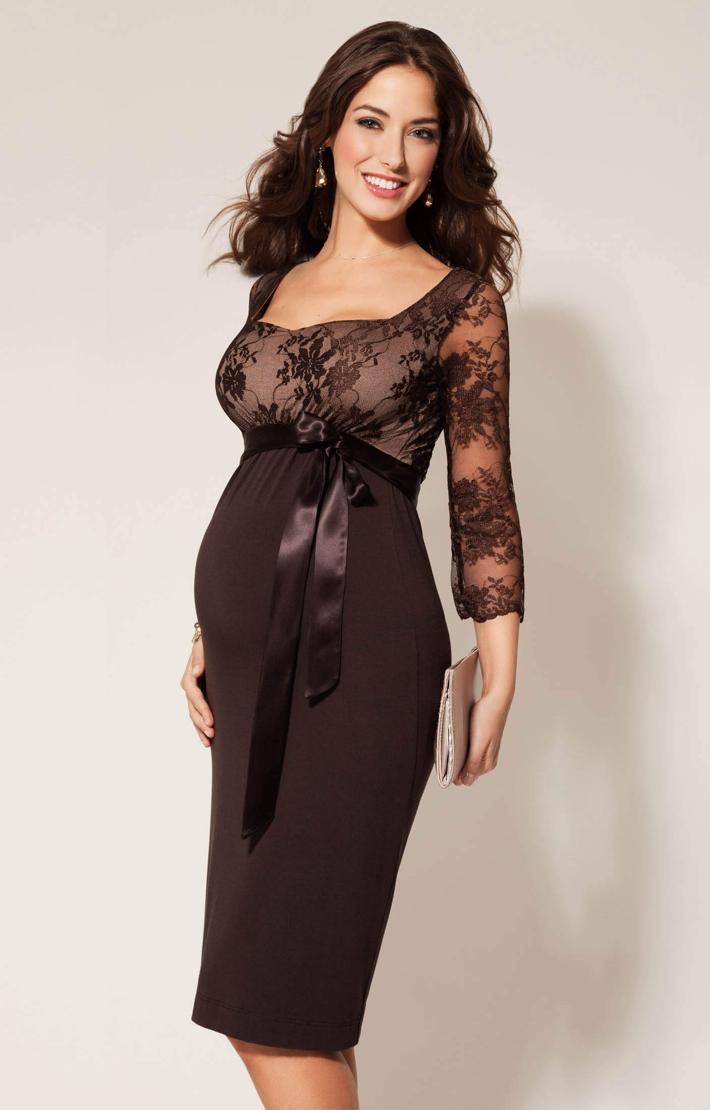 Isabelle lace maternity dress cocoa maternity wedding for Wedding guest pregnancy dresses