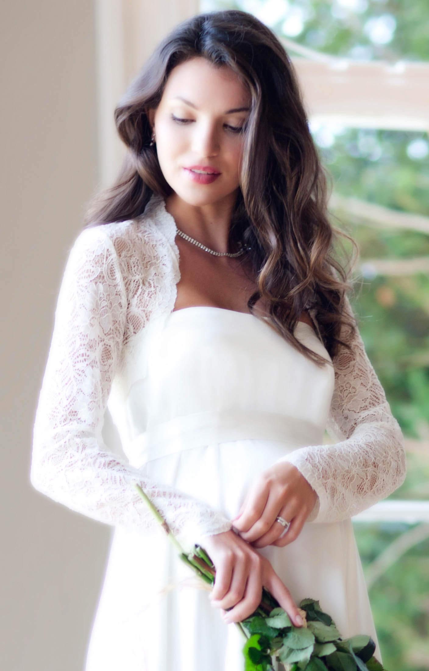 Italia Bridal Bolero (Ivory) Long Sleeves - Maternity Wedding ...