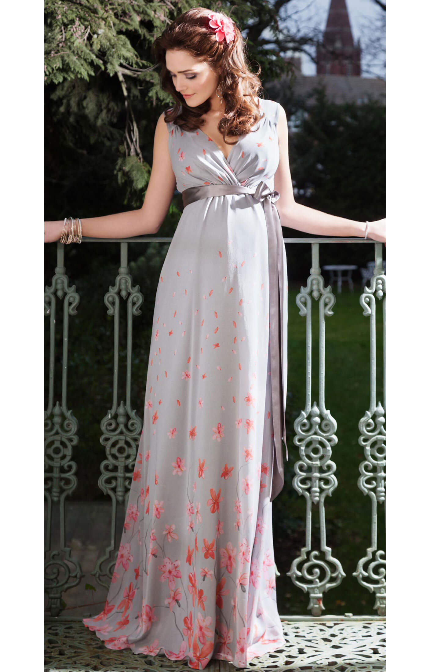 Jasmine Maternity Gown Long (Peach Blossom) - Maternity Wedding ...