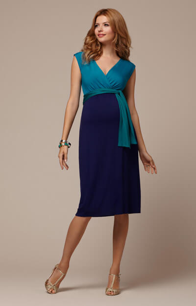 Jewel Block Maternity Dress Biscay Blue by Tiffany Rose