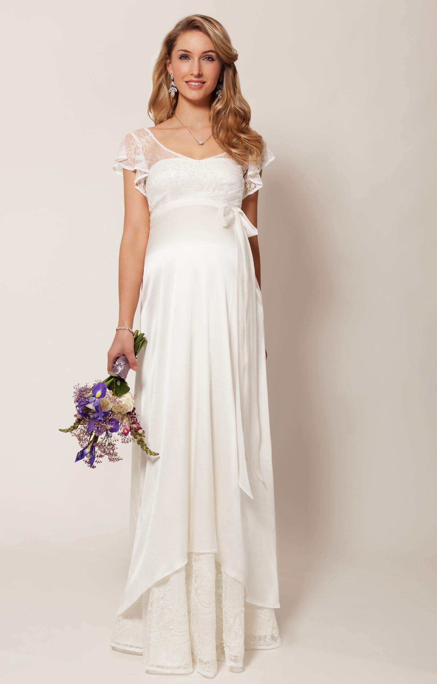 Wedding Dresses for the Pregnant Bride. Make the day you've always dreamed of a reality with a maternity wedding dress from our collection. Some maternity bridal dresses provide a flowy, elegant silhouette, while others offer a closer fit to showcase your pregnant belly.
