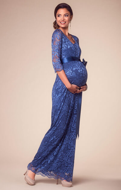 Katie Maternity Gown Long Windsor Blue by Tiffany Rose