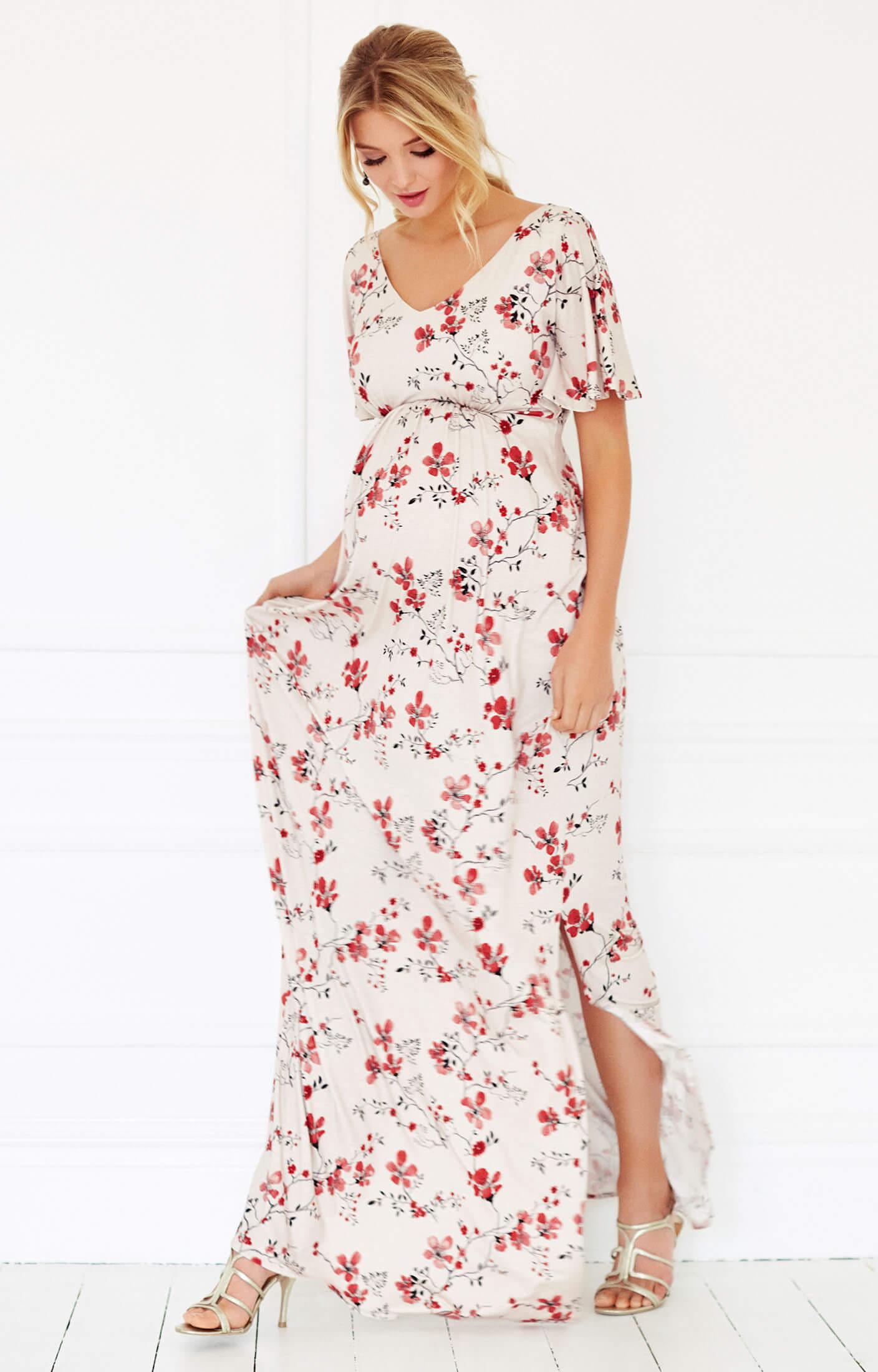 Kimono Maternity Maxi Dress Cherry Blossom Red - Maternity Wedding ...