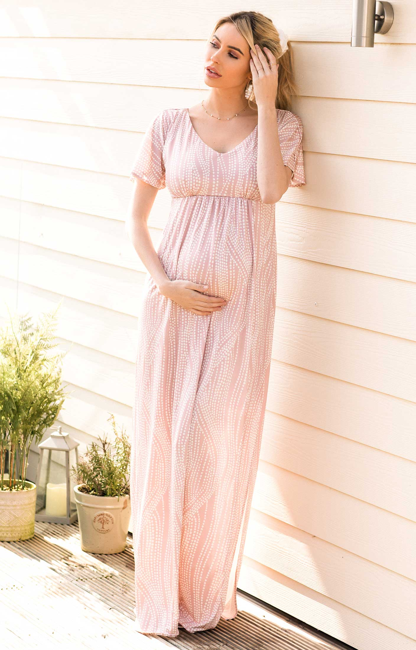 Kimono Maternity Maxi Dress Dotty Pink Maternity Wedding Dresses Evening Wear And Party Clothes By Tiffany Rose Us