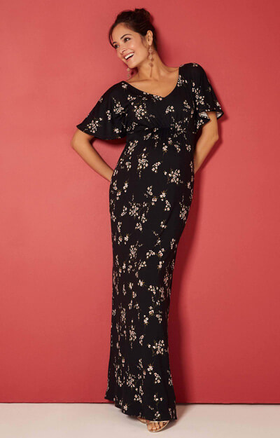 Kimono Maternity Maxi Dress in black Night Blossom by Tiffany Rose
