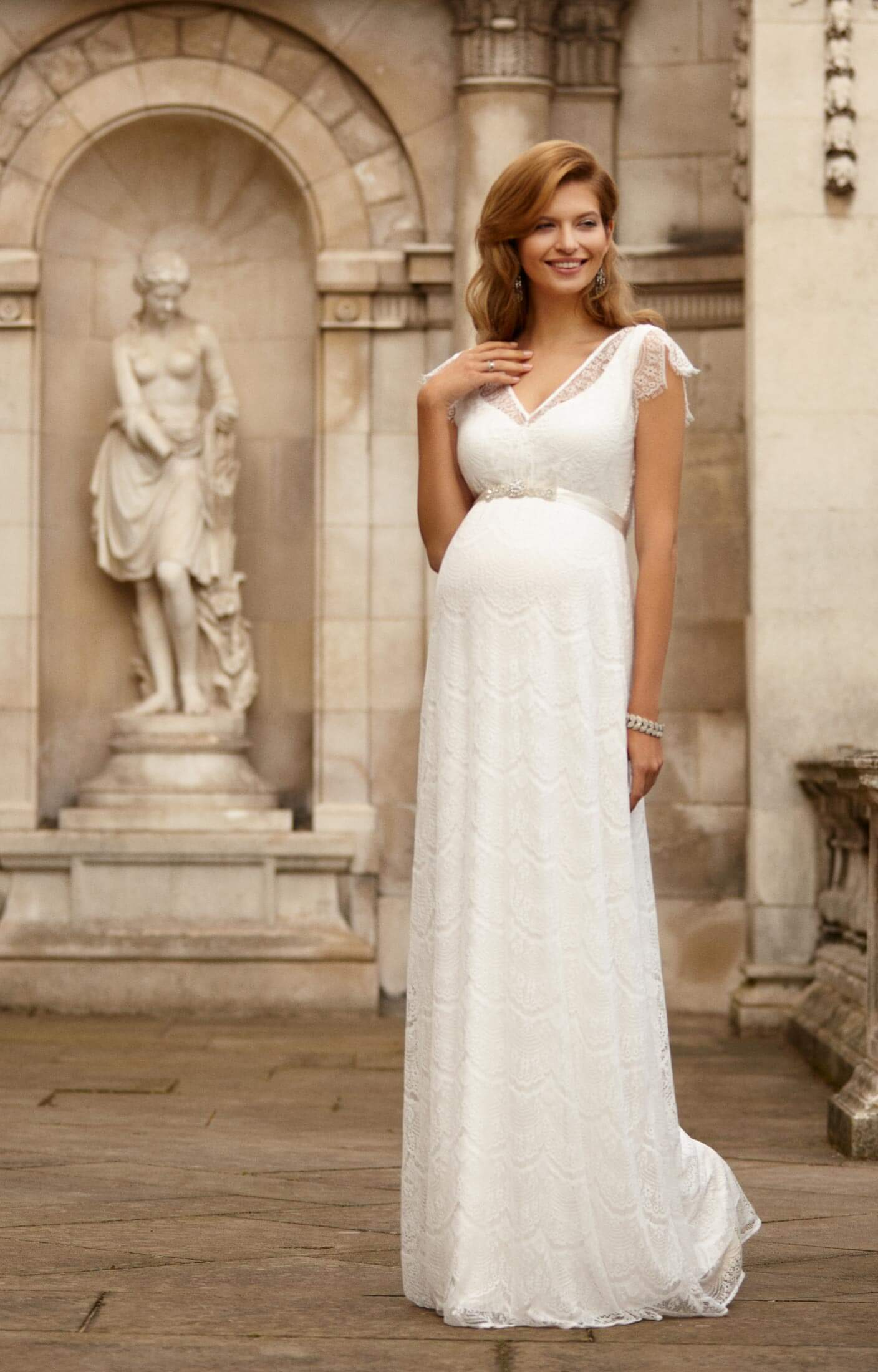 Beaded Pleated Chiffon A-Line Strapless Maternity Wedding Dress ...