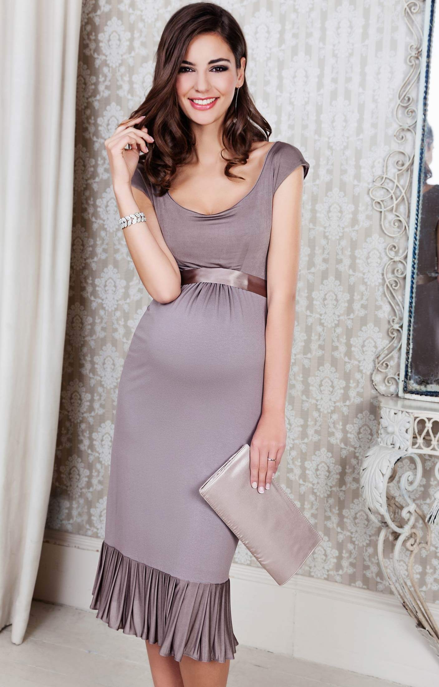 Lauren Maternity Dress (Mink Rose)