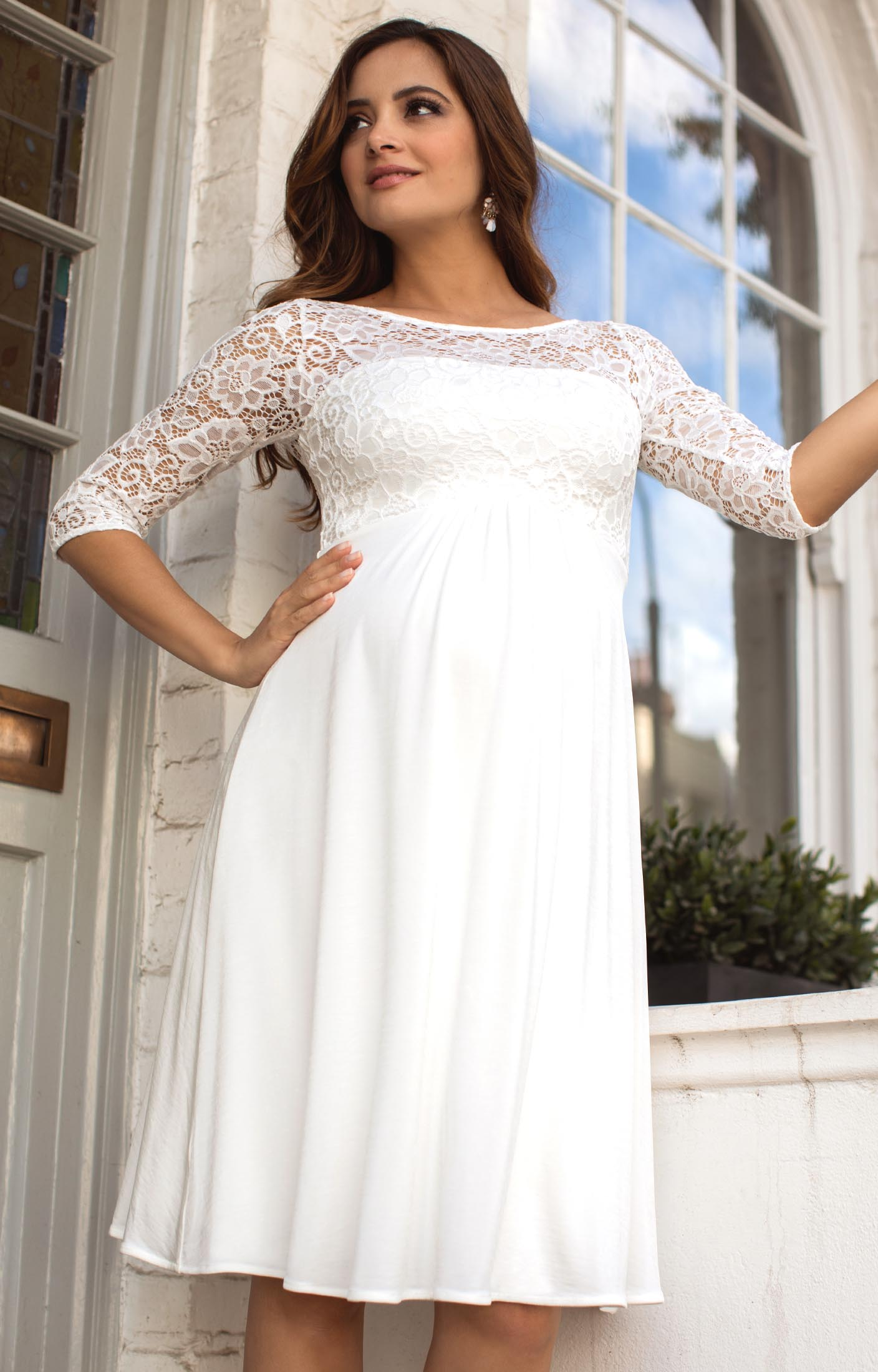 Lucia maternity wedding dress short ivory maternity for Short wedding dresses uk