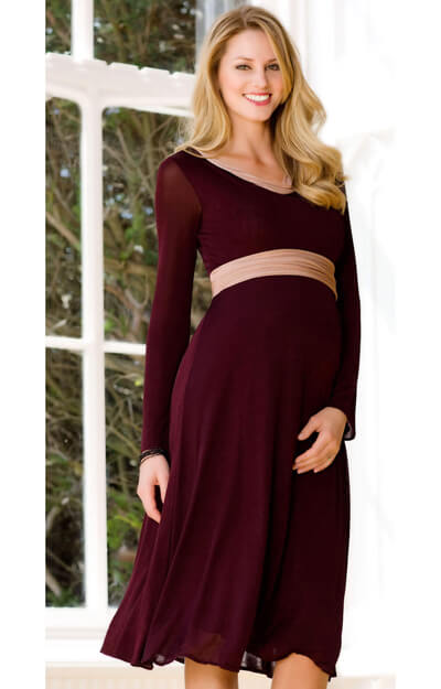 Lola Maternity Dress (Claret) by Tiffany Rose