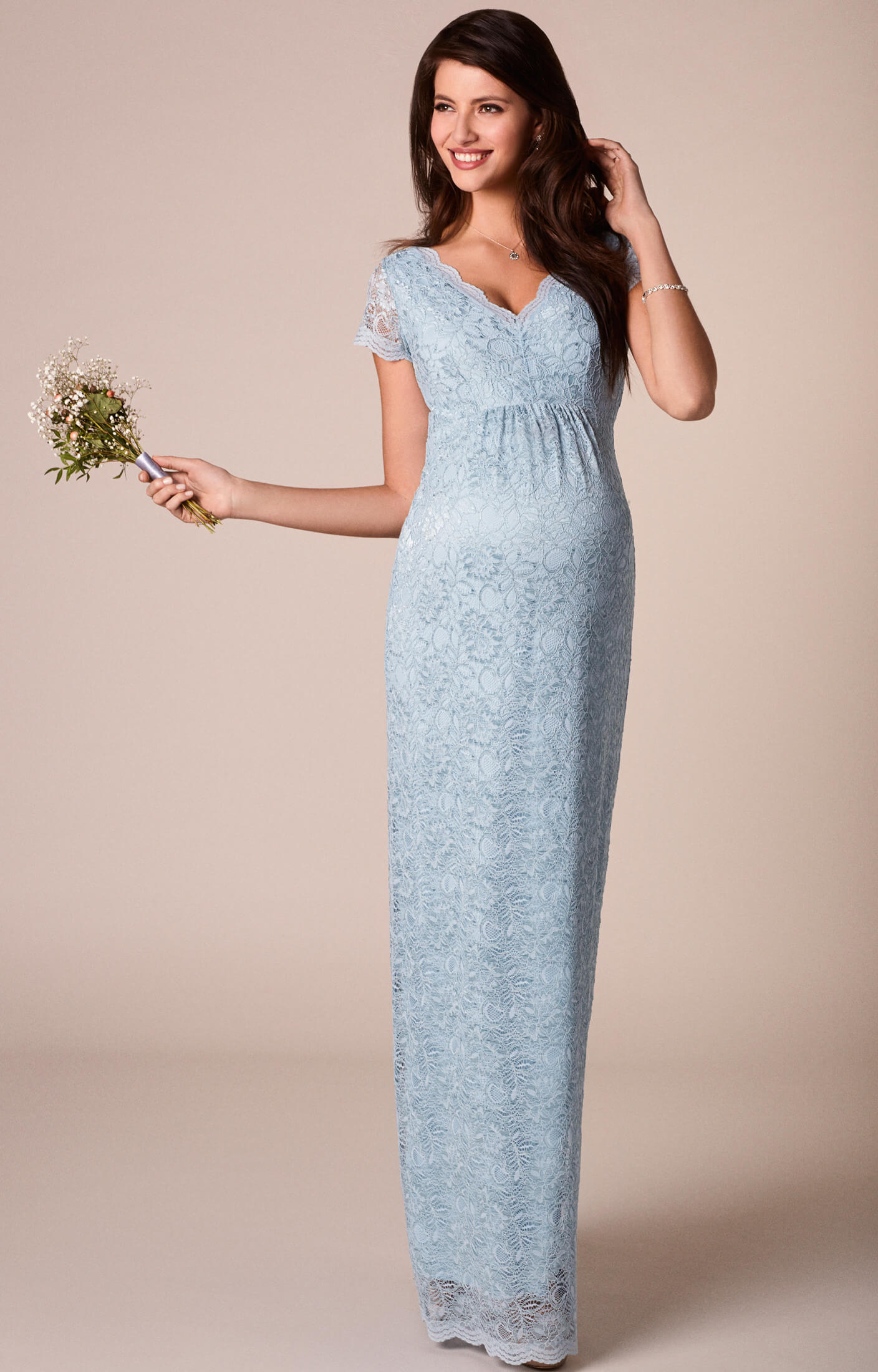 Laura Maternity Lace Gown Long Eau De Nil Maternity