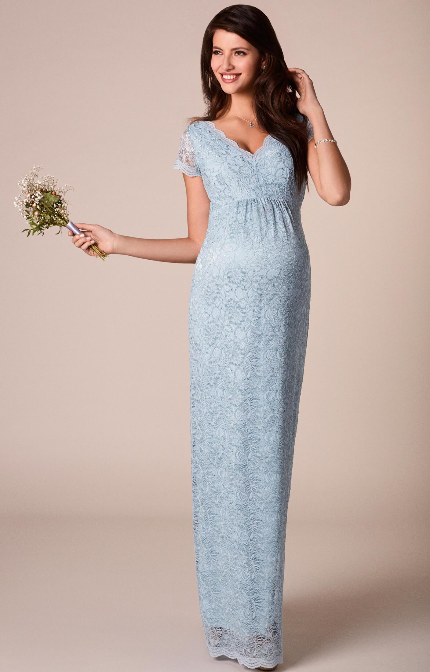 Laura Maternity Lace Gown Long Eau de Nil - Maternity Wedding ...