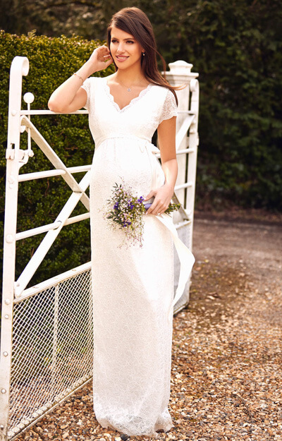 Laura Maternity Wedding Lace Gown Long Ivory by Tiffany Rose