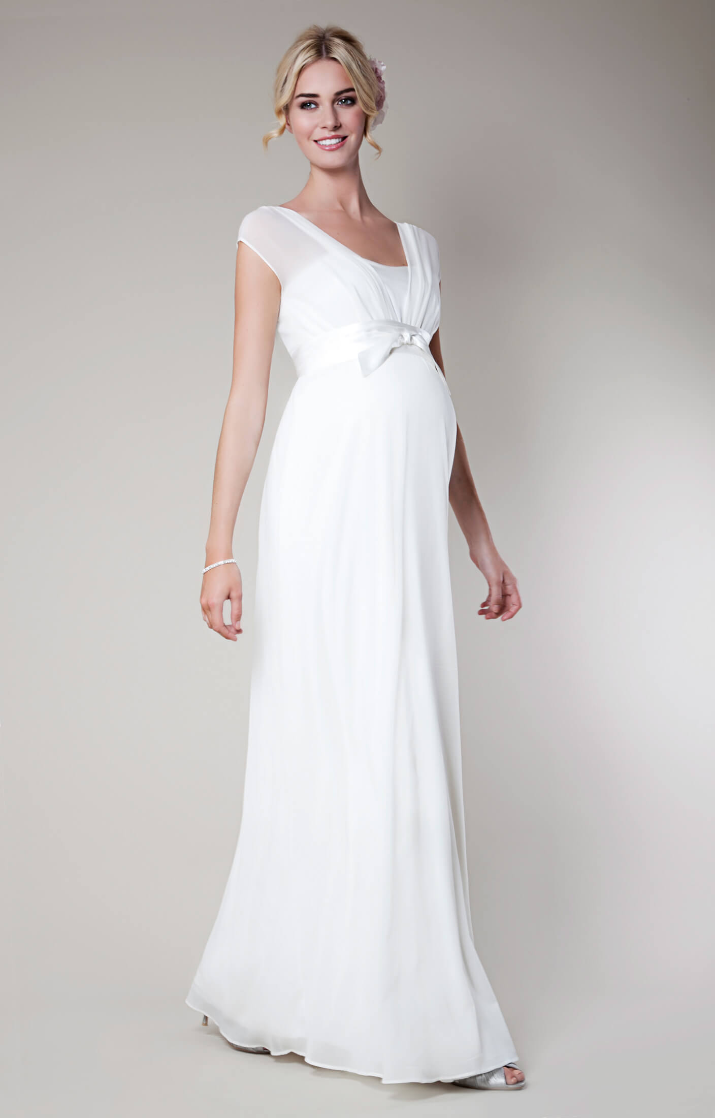 Lily silk maternity wedding gown long ivory maternity for Pregnancy dress for wedding
