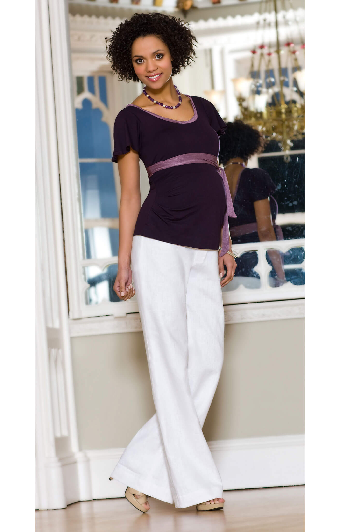 Linen Maternity Trousers (White) - Maternity Wedding Dresses ...