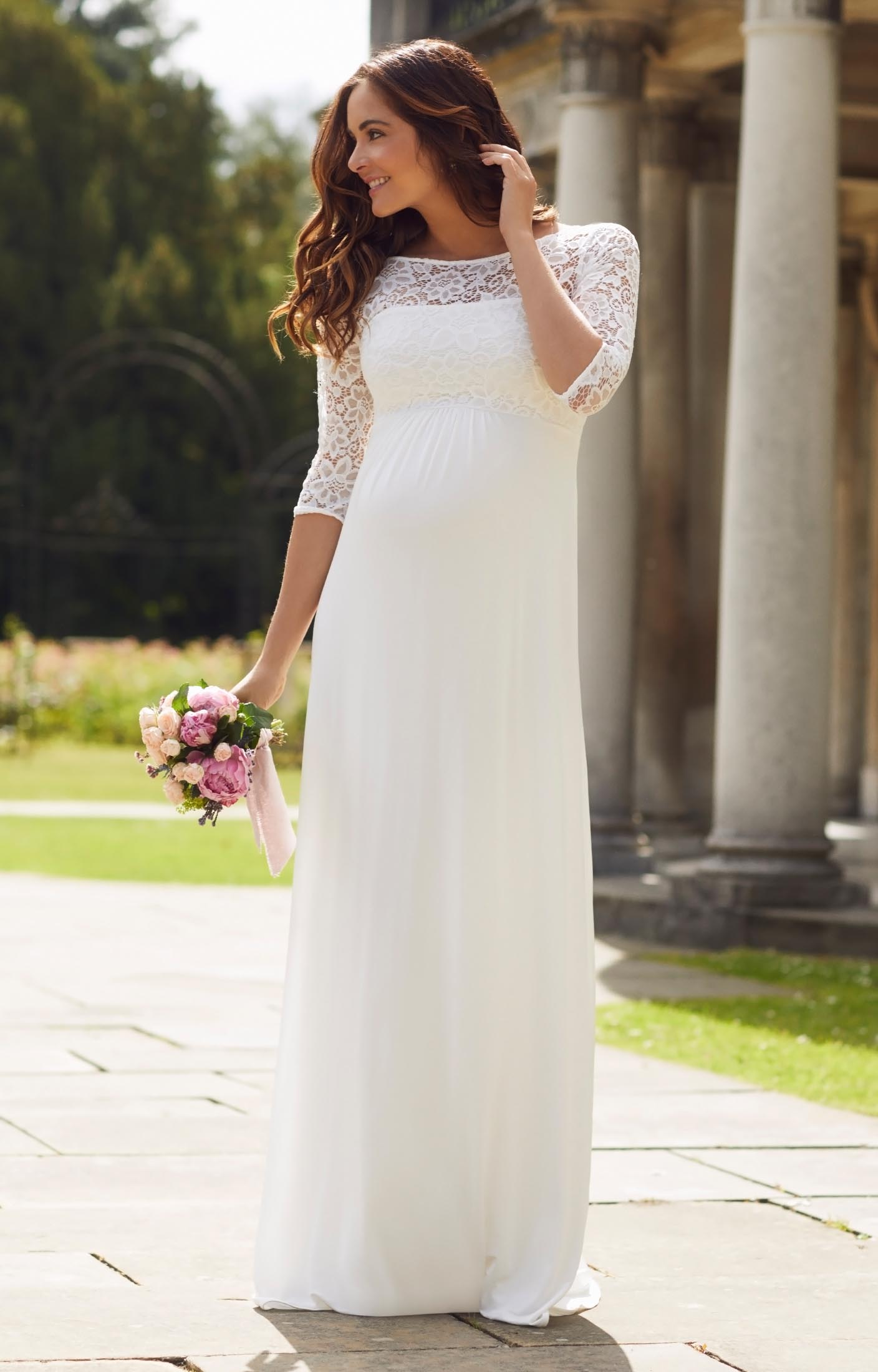 Lucia maternity wedding gown long ivory maternity for Pregnancy dress for wedding