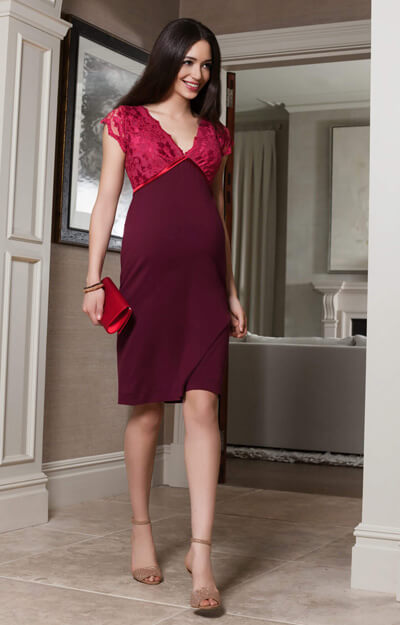 Luella Maternity Shift Dress Bright Rose by Tiffany Rose