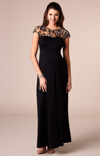 Marie Maternity Gown Long Vintage Noir by Tiffany Rose