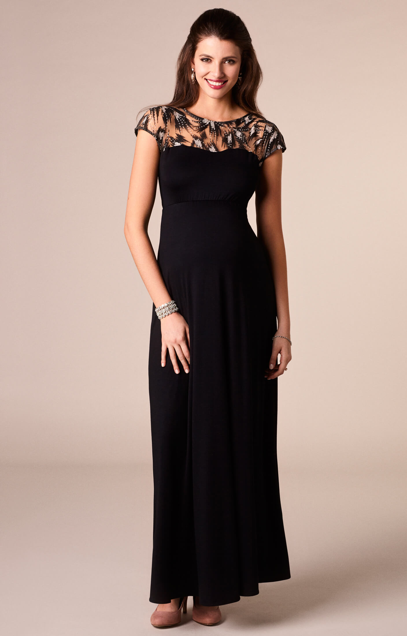 Marie Maternity Gown Long Vintage Noir - Maternity Wedding Dresses ...