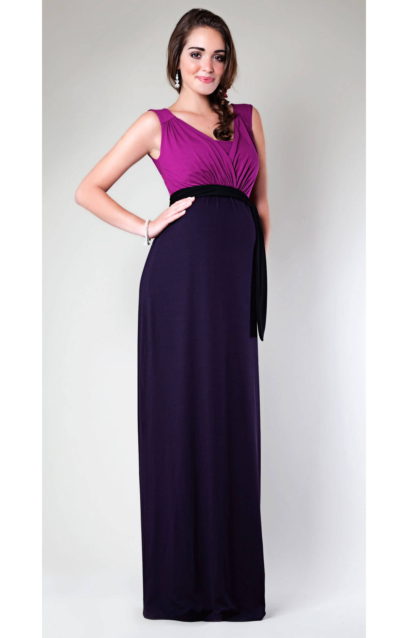 Berry maternity maxi dress
