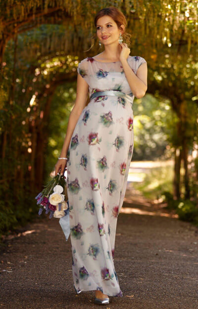 Maya Maternity Gown Long Dusky Floral by Tiffany Rose