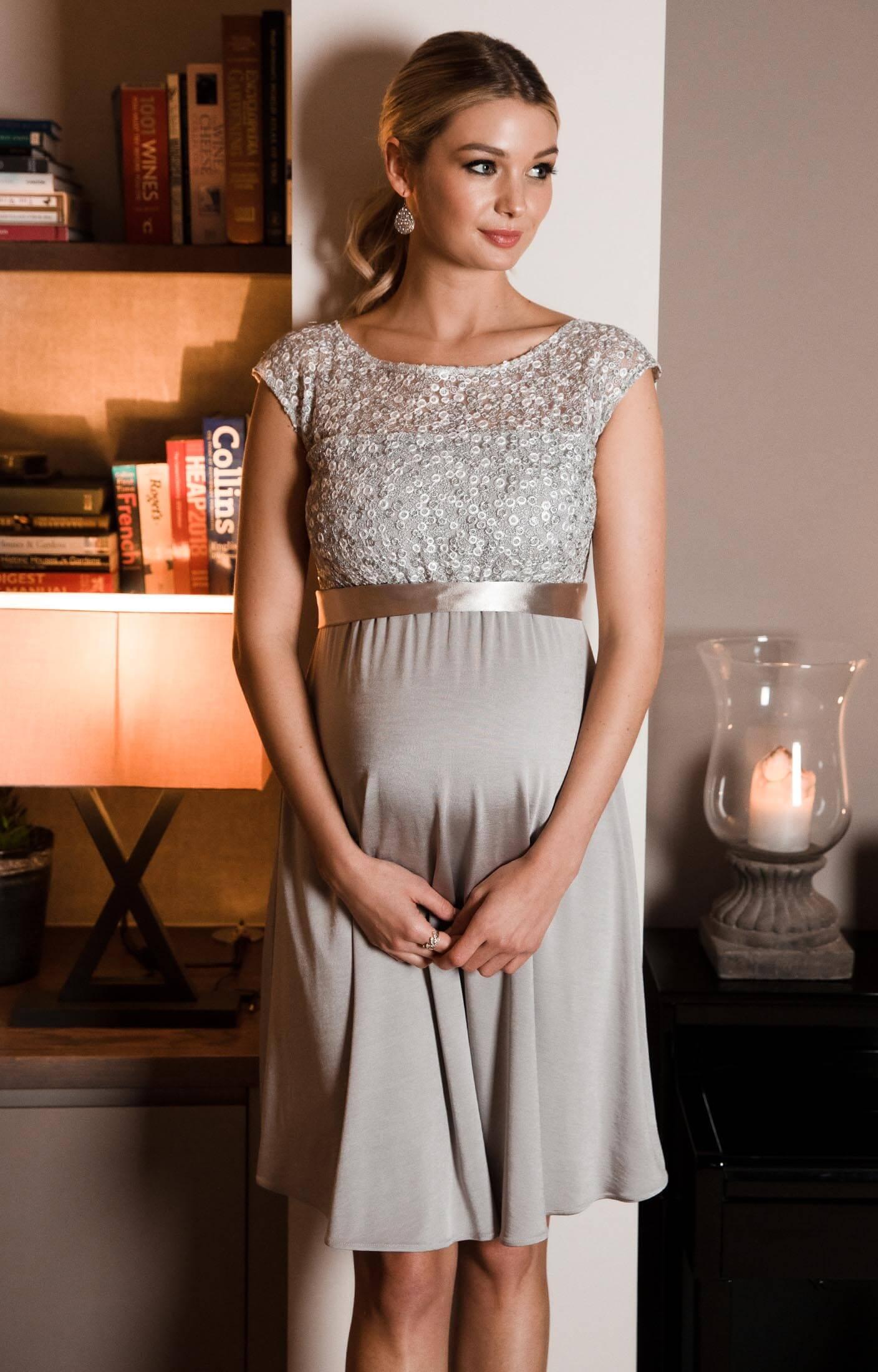 mia schwangerschaftskleid silber - umstandshochzeitskleider, abendgarderobe  und partykleidungtiffany rose