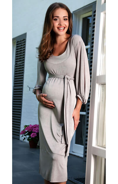 Mia Maternity Dress (Silver) by Tiffany Rose