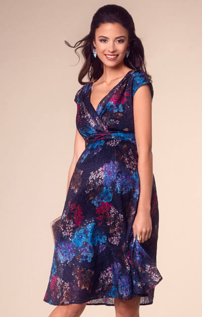 Natalia Maternity Dress Short Floral Sparkle by Tiffany Rose