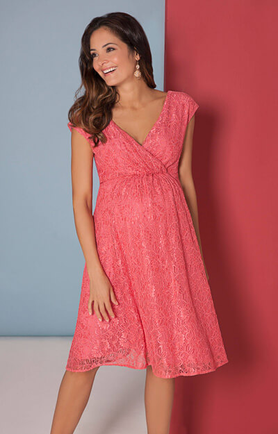 Nicola Lace Dress in Coral Blush by Tiffany Rose