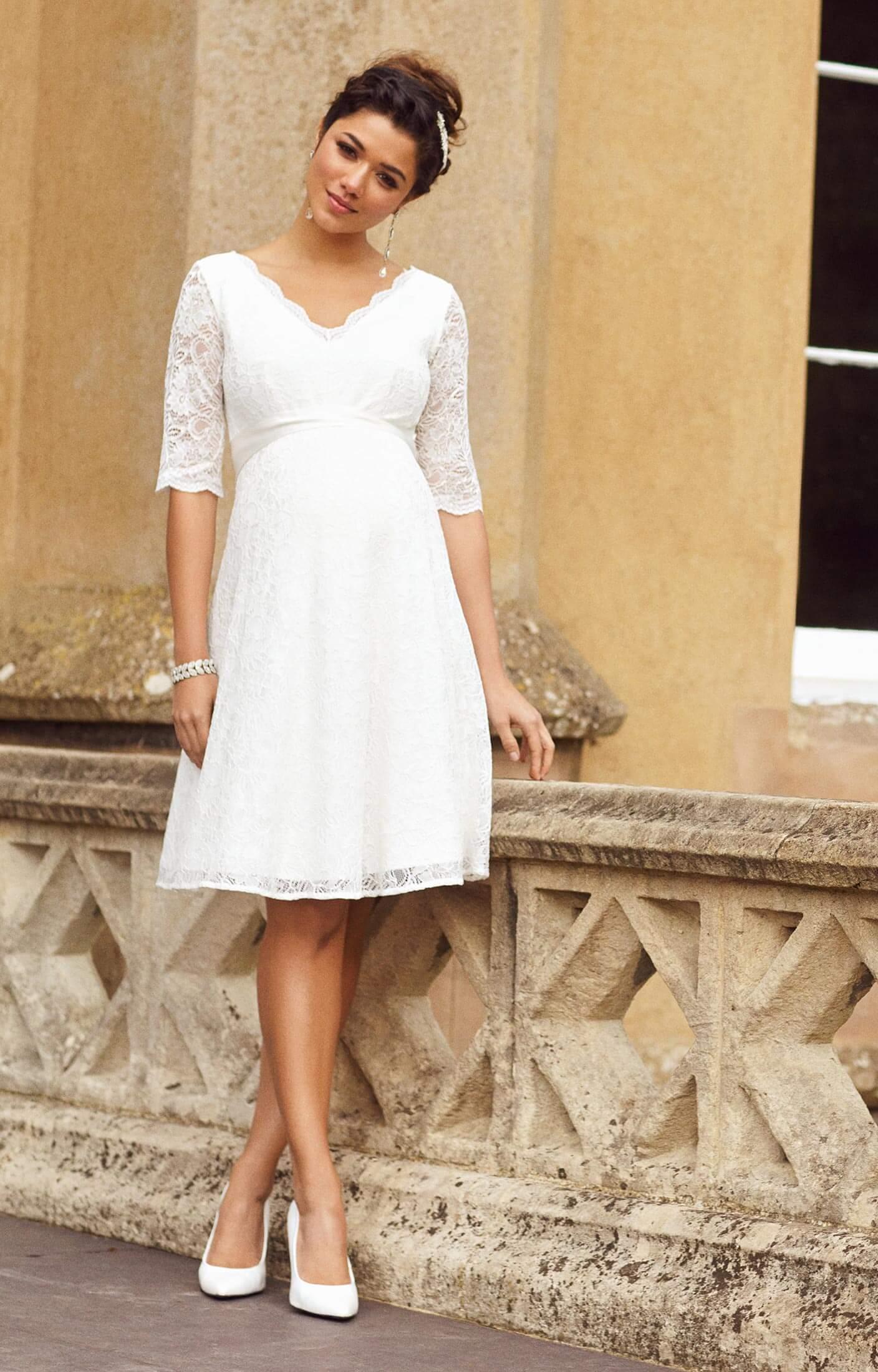 Noelle Maternity Wedding Dress Short Ivory
