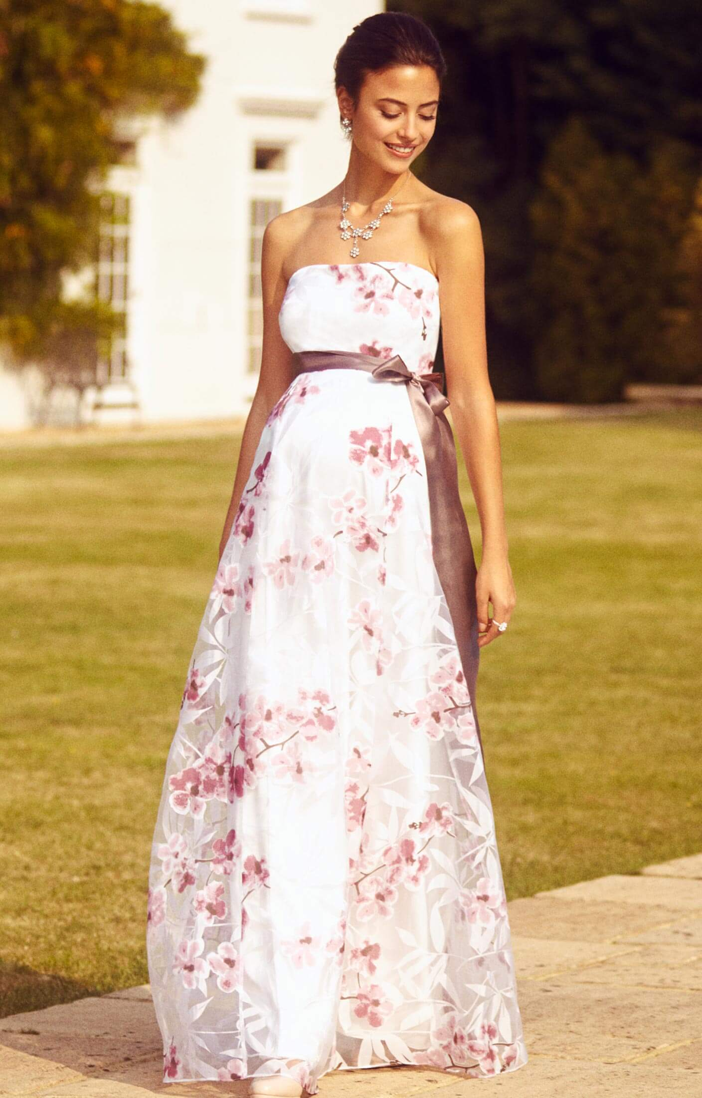 Ocean Maternity Gown Long Cherry Blossom Maternity