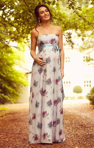 Ocean Maternity Gown Long Dusky Floral by Tiffany Rose