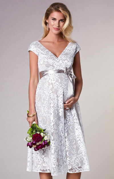 Orla Maternity Wedding Lace Dress Oyster Cream by Tiffany Rose
