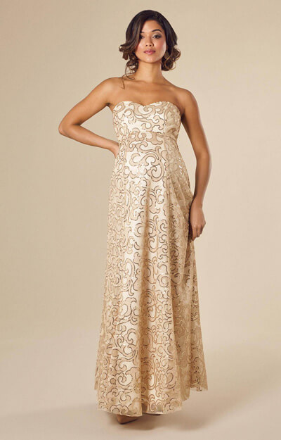 Olivia Gown Long Champagne Shimmer by Tiffany Rose