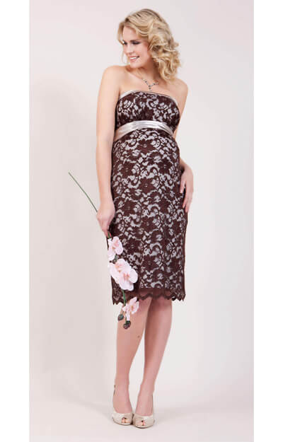 Oyster Lace Maternity Dress Short (Chocolate) by Tiffany Rose