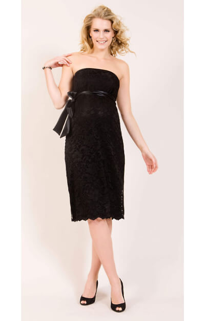 Oyster Lace Maternity Dress Short (Jet Black) by Tiffany Rose