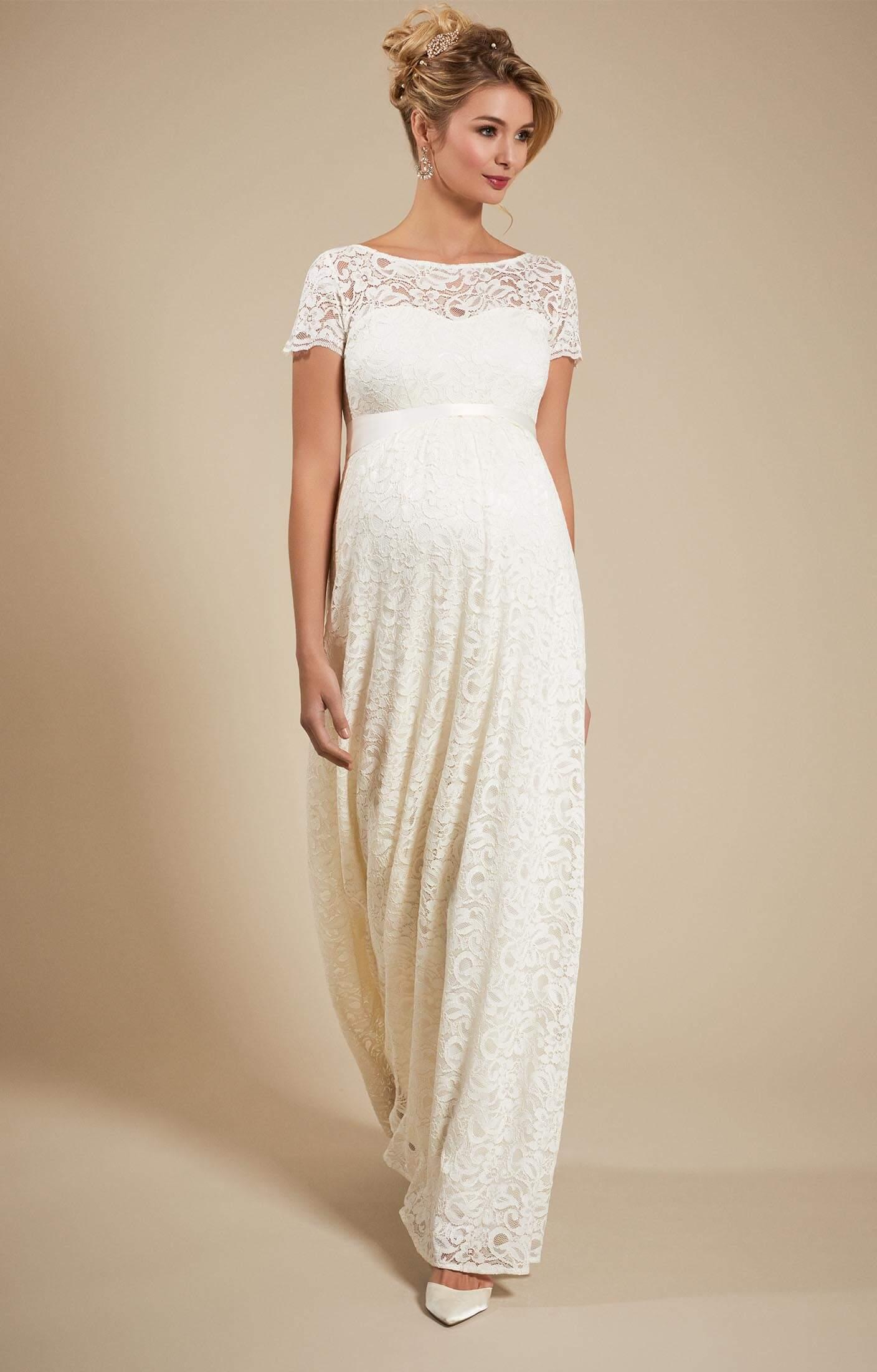 Penelope Umstands Hochzeitskleid lang in Elfenbein -  Umstandshochzeitskleider, Abendgarderobe und Partykleidung by Tiffany Rose