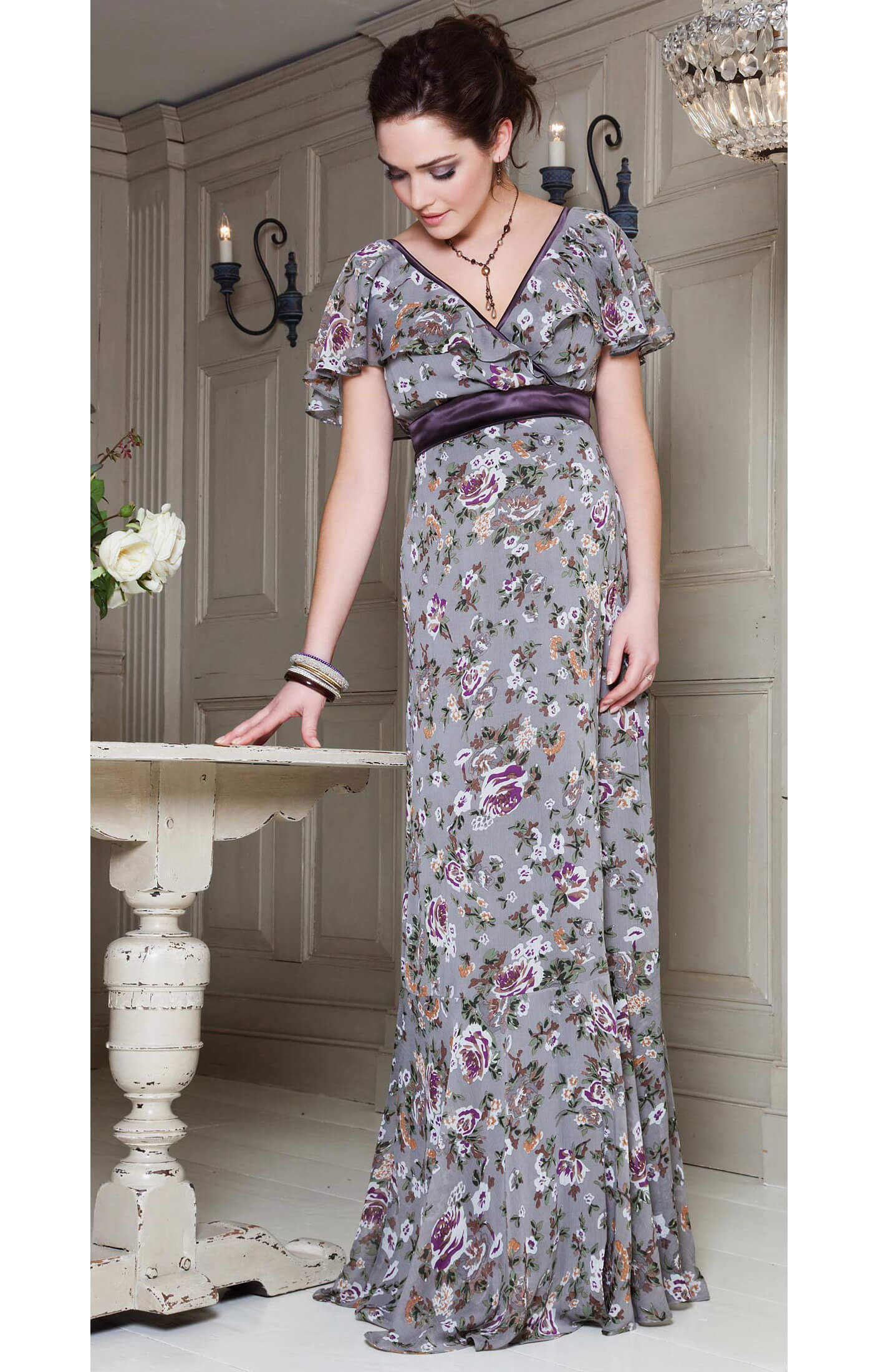 Ruffle Maxi Maternity Dress (Wild Dove) - Maternity Wedding Dresses ...