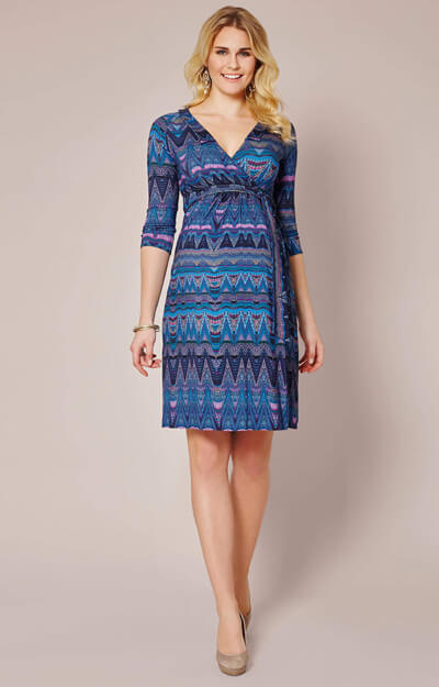 Saffron Maternity Dress Aztec Blue by Tiffany Rose