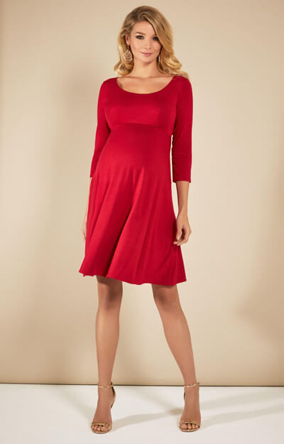 Samantha Maternity Dress Short Ribbon Red by Tiffany Rose