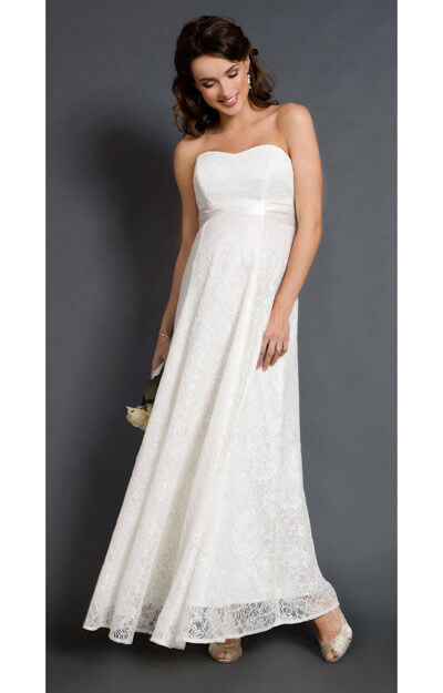 Savona Ivory Maternity Wedding Gown (Long) by Tiffany Rose