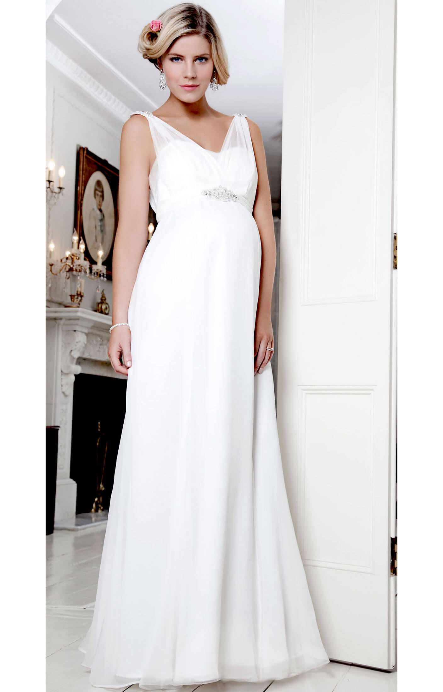 Silk Crystal Maternity Gown Ivory